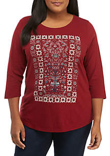 Plus Size Abstract Print Top