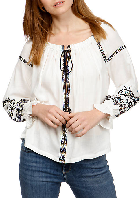 Lucky Brand Embroidery Peasant Top