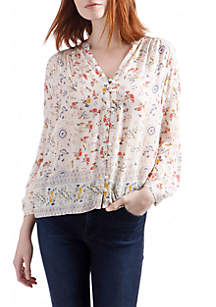 Floral Print Long Sleeve Button Front Peasant Top