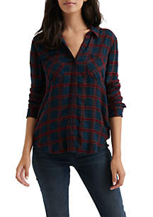 Lucky Brand Pleat Back Woven Top