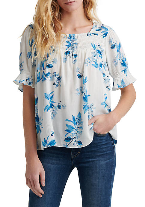 Lucky Brand Smocked Square Neck Top