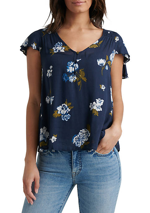 Lucky Brand Printed Ruffle Sleeve V Neck Top