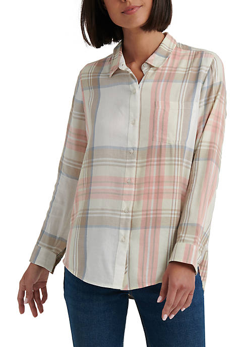 Lucky Brand Classic One Pocket Plaid Top