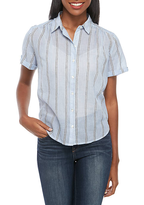 Lucky Brand Avery Stripe Button Front Shirt
