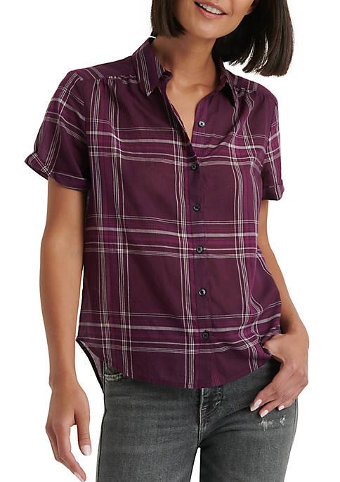 Lucky Brand Plaid Short Sleeve Button Front Shirt