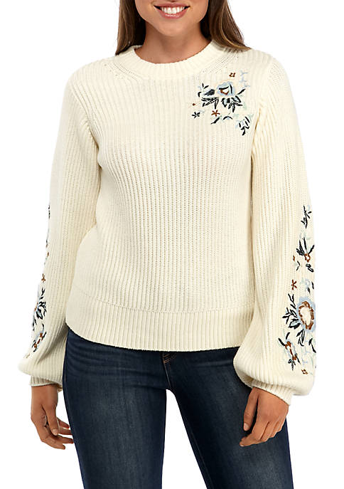 Lucky Brand Embroidered Long Juliet Sleeve Pullover Sweater