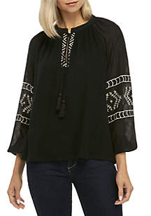 Embroidered Print Peasant Top