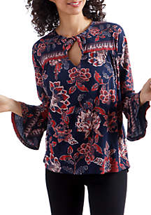 3/4 Sleeve Floral Blouse with Keyhole Neck