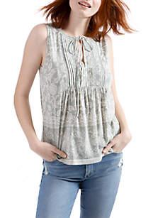 V-Neck Sleeveless Lace Knit Top