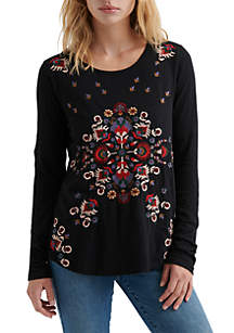 Long Sleeve Embroidered Tee