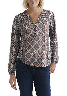 Lucky Brand Printed Top with Tassels
