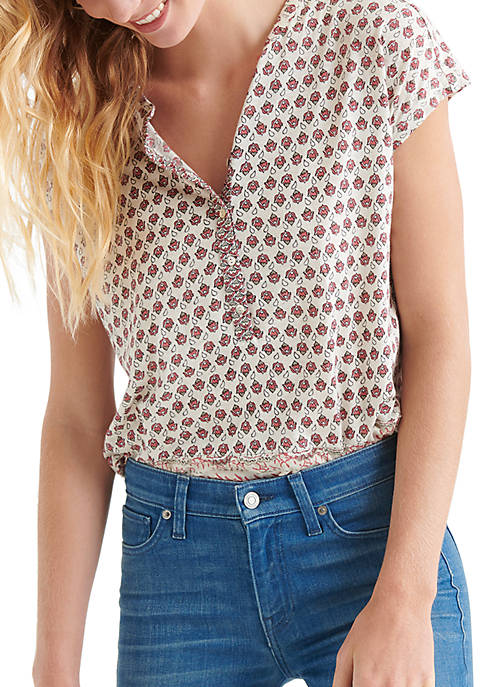 Border Print Short Sleeve Top