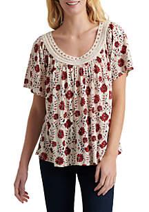f932e95828 Karen Kane Layered Scarf Print Top · Lucky Brand Crochet Neck Short Sleeve  T Shirt