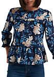 3/4 Juliet Sleeve Floral Print Top