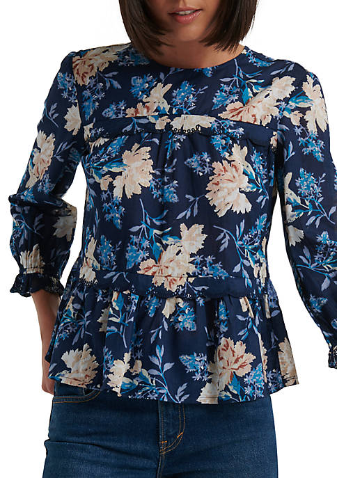 Lucky Brand 3/4 Juliet Sleeve Floral Print Top
