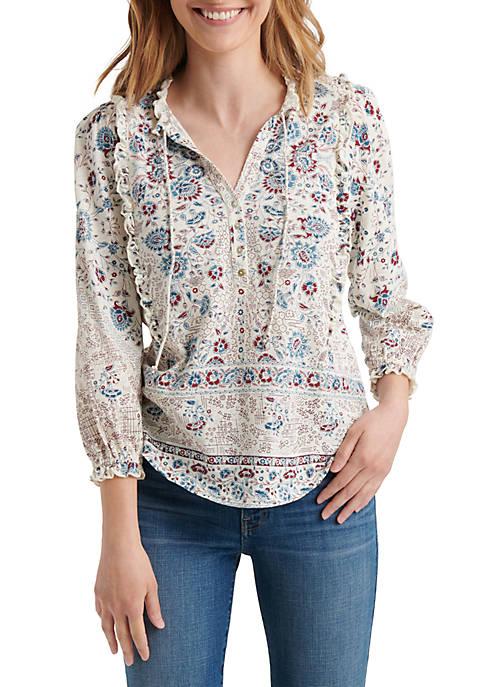 Lucky Brand 3/4 Juliet Sleeve Ruffle Printed Top