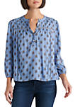 Womens Lace Inset 3/4 Sleeve Blouse
