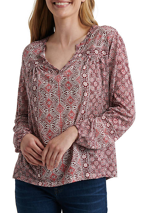 Womens Long Sleeve Printed Top