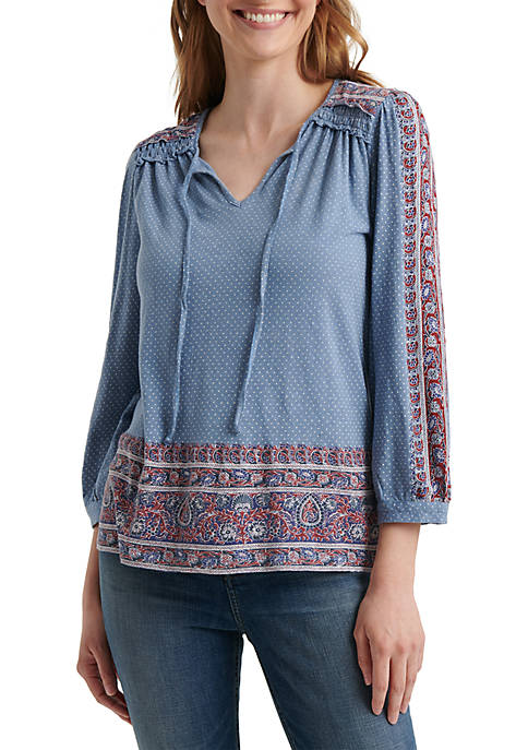 Lucky Brand 3/4 Peasant Sleeve Place Print Top