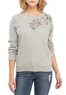 Lucky Brand Floral Yoke Pullover Sweater