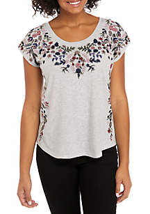 Floral Garden Embroidered Knit Top