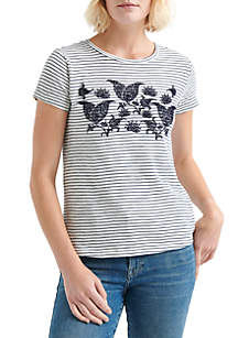 Lucky Brand Striped Paisley Graphic Tee