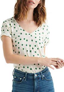 Lucky Brand Clover Print Short Sleeve Tee