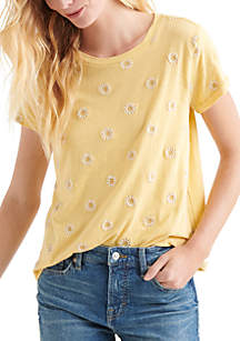 Lucky Brand Embroidered Daisy Top