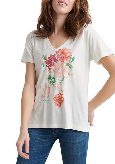 Lucky Brand Bouquet V Neck T Shirt