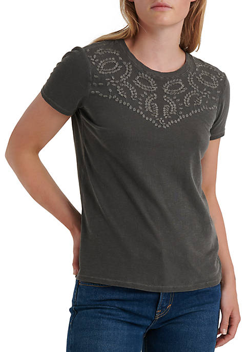 Womens Embroidered Short Sleeve T-Shirt