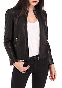 Puff Sleeve Leather Jacket