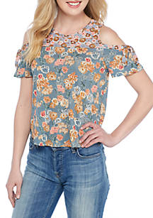 c48632a181137 Lucky Brand. Lucky Brand Floral Print Tie Cold Shoulder Top