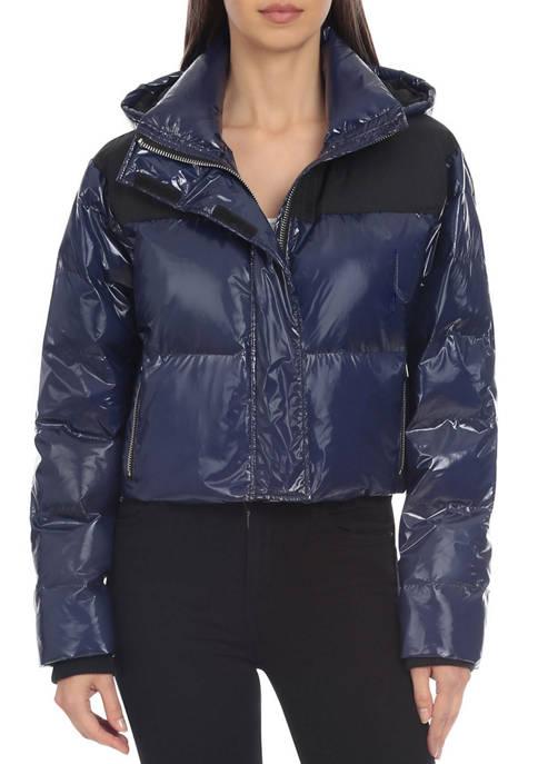 Bagatelle NYC Womens Cropped Patent Nylon Puffer Jacket