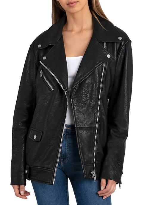 Bagatelle NYC Womens Oversized Lamb Leather Biker Jacket