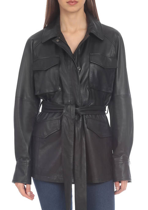 Bagatelle NYC Womens Faux Leather Utility Jacket