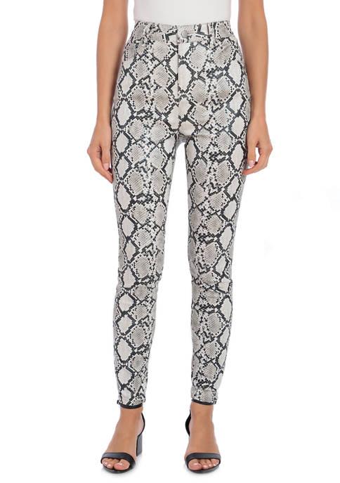 Womens Coated Cotton Python 5 Pocket Pants
