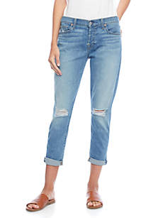 Josefina Destructed Knee Roll Boyfriend Jeans