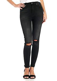 Aubrey Frayed Hem Busted Knee Jean