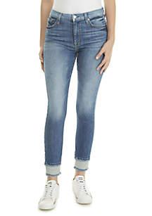 Reverse Fray Hem Skinny Ankle Jeans