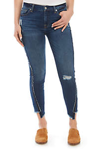 7 For All Mankind® Ankle Skinny Jeans with Fray Angle Hem