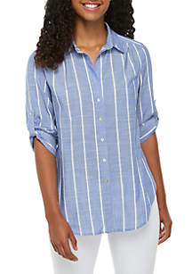 Grace Elements Stripe Button Front Woven Top