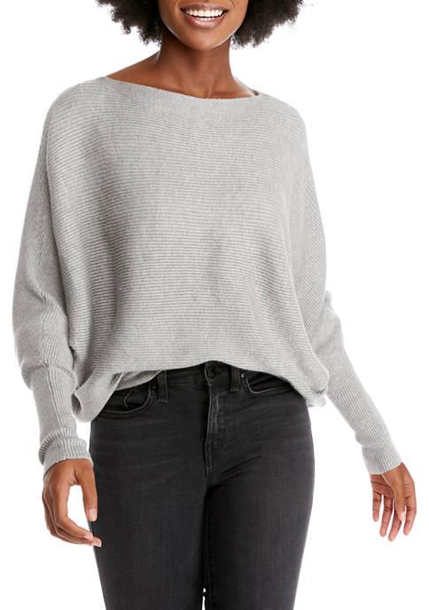 Womens Boat Neck Dolman Sleeve Sweater