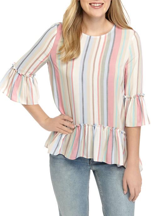 Womens Stripe Ruffle Trim Woven Blouse