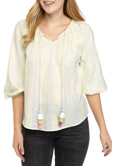 Womens Yarn Dye Stripe Top with Tassels