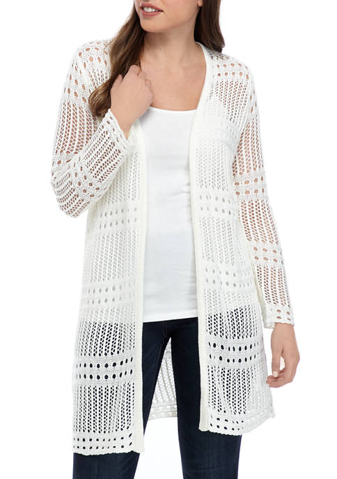 philosophy Womens Crochet Midi Cardigan