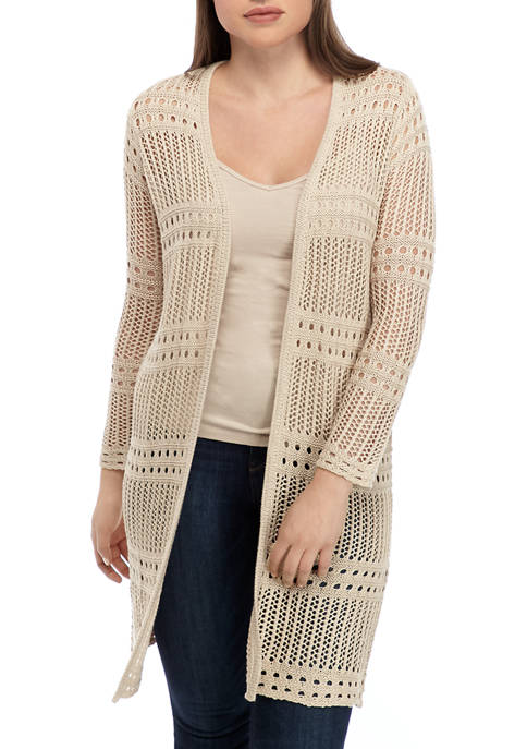 philosophy Womens Crochet Midi Cardigan