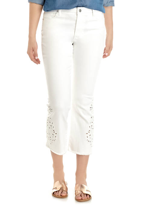 Womens Embroidered Eyelet Denim Jeans