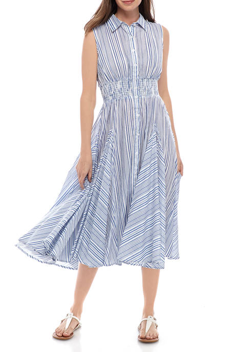 philosophy Womens Shirting Stripe Smock Waist Dress