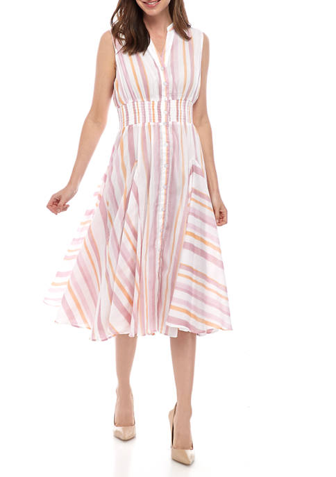 Womens Candy Stripe Smock Waist Dress