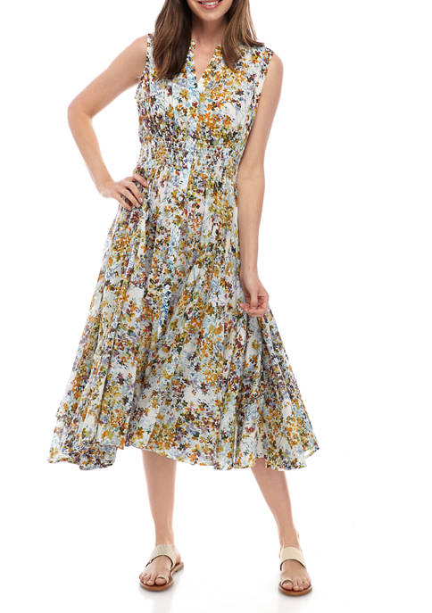 philosophy Womens Floral Smocked Waist Dress